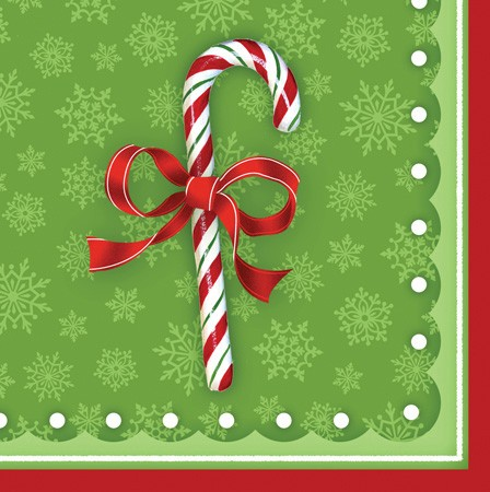 Candy Cane Bliss 3-Ply Beverage Napkins