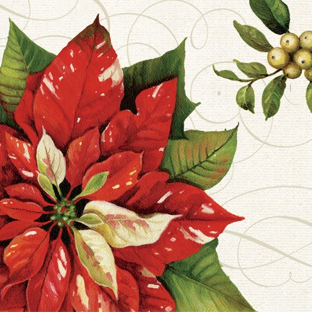 Vintage Poinsettia 3-Ply Dinner Napkins