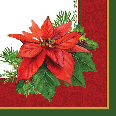 Holiday Poinsettia 3-Ply Lunch Napkins