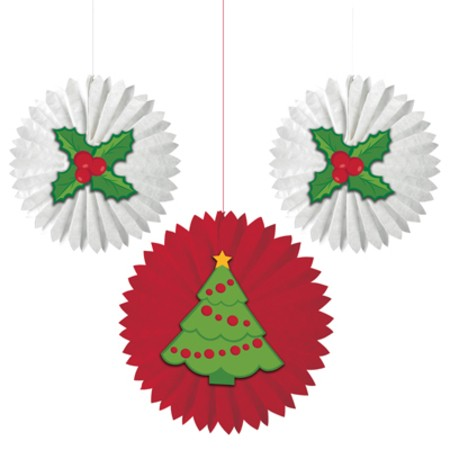 Tissue Fans with Christmas Trees & Holly