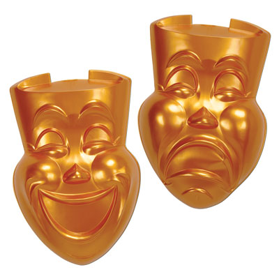 Gold Plastic Comedy & Tragedy Faces 21in