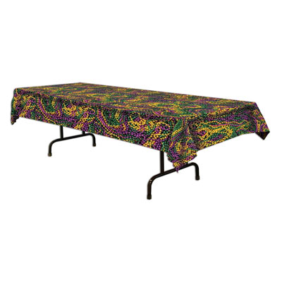 Mardi Gras Beads Tablecover 54 x 108