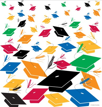 Graduation Toss Plastic 54x108 Tablecover