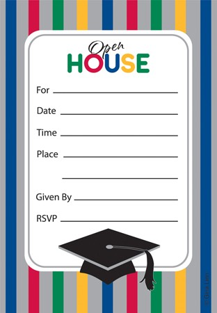 Graduation Stripes Invitation Insert Cards