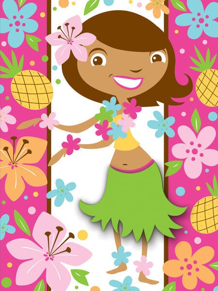 Pink Luau Fun Postcard Invitations