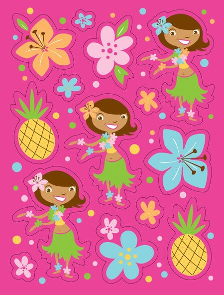 Pink Luau Fun Value Stickers