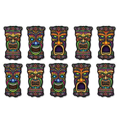 Mini Tiki Cutouts 5in 10ct