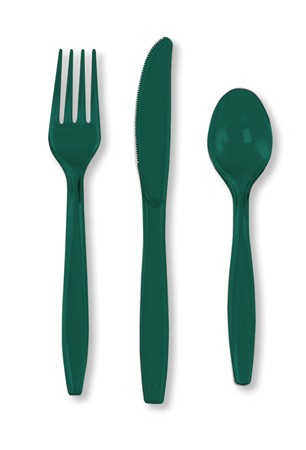 Hunter Green Assorted Premium Plastic Cutlery