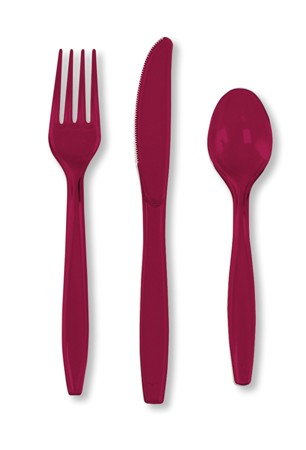 Burgundy Assorted Premium Plastic Cutlery