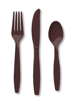 Chocolate Brown Assorted Premium Plastic Cutlery