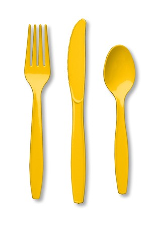School Bus Yellow Assorted Premium Plastic Cutlery