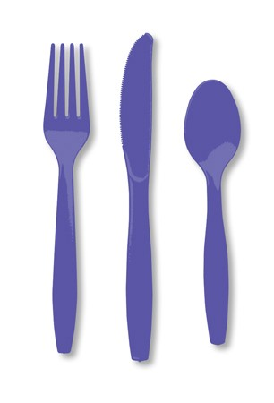 Purple Assorted Premium Plastic Cutlery