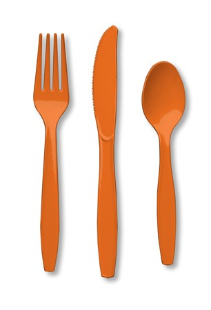 Sunkissed Orange Assorted Premium Plastic Cutlery