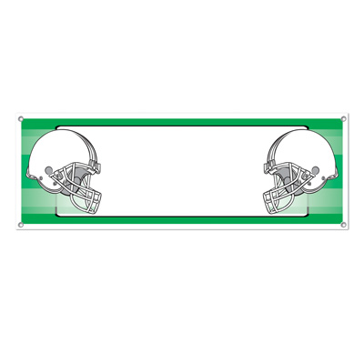 Opposing Helmets Sign Banner 5ft x 21in