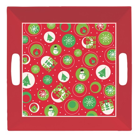 Christmas 10.25in Square Tray with Handles