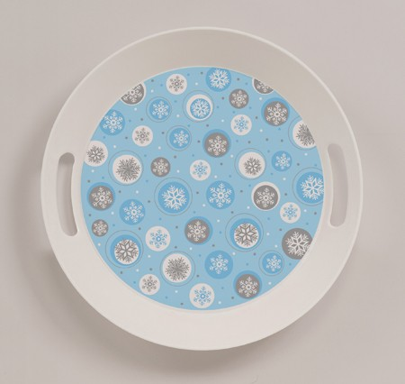 Snowflake 10in Round Tray with Handles