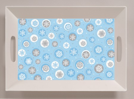 Snowflake 10x14in Plastic Tray with Handles