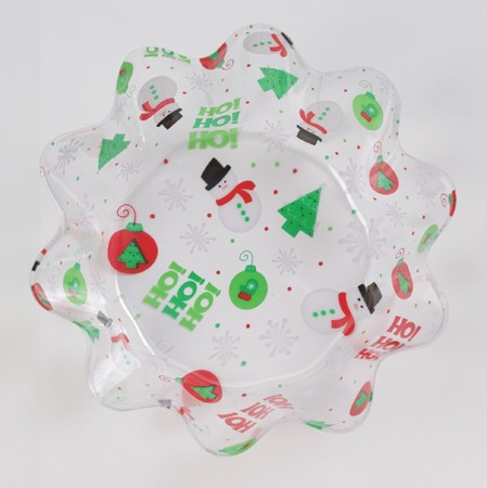 Christmas 8in Fluted Plastic Bowl