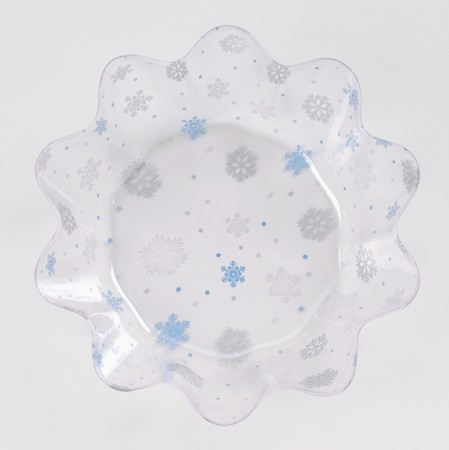 Snowflake 8in Fluted Plastic Bowl