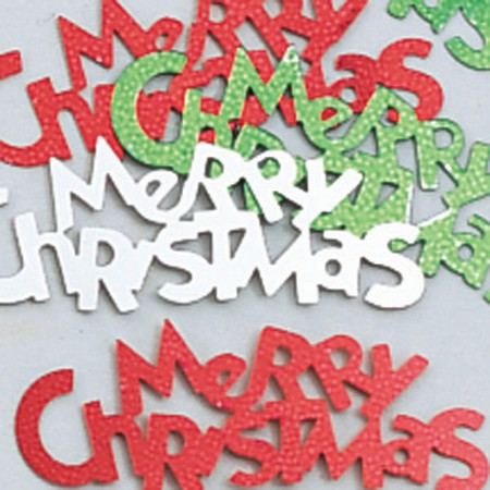 Merry Christmas Multi-Color Shaped Confetti