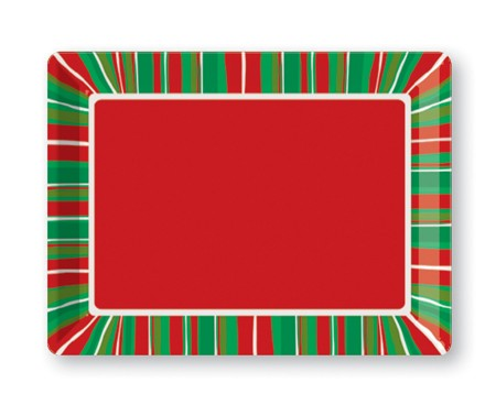 Christmas Stripe 10x14 Plastic Tray