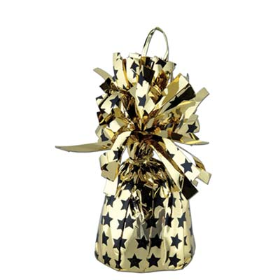 Printed Balloon Weight - Stars 6 Oz black & gold