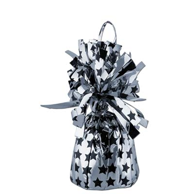 Printed Balloon Weight - Stars 6 Oz black & silver