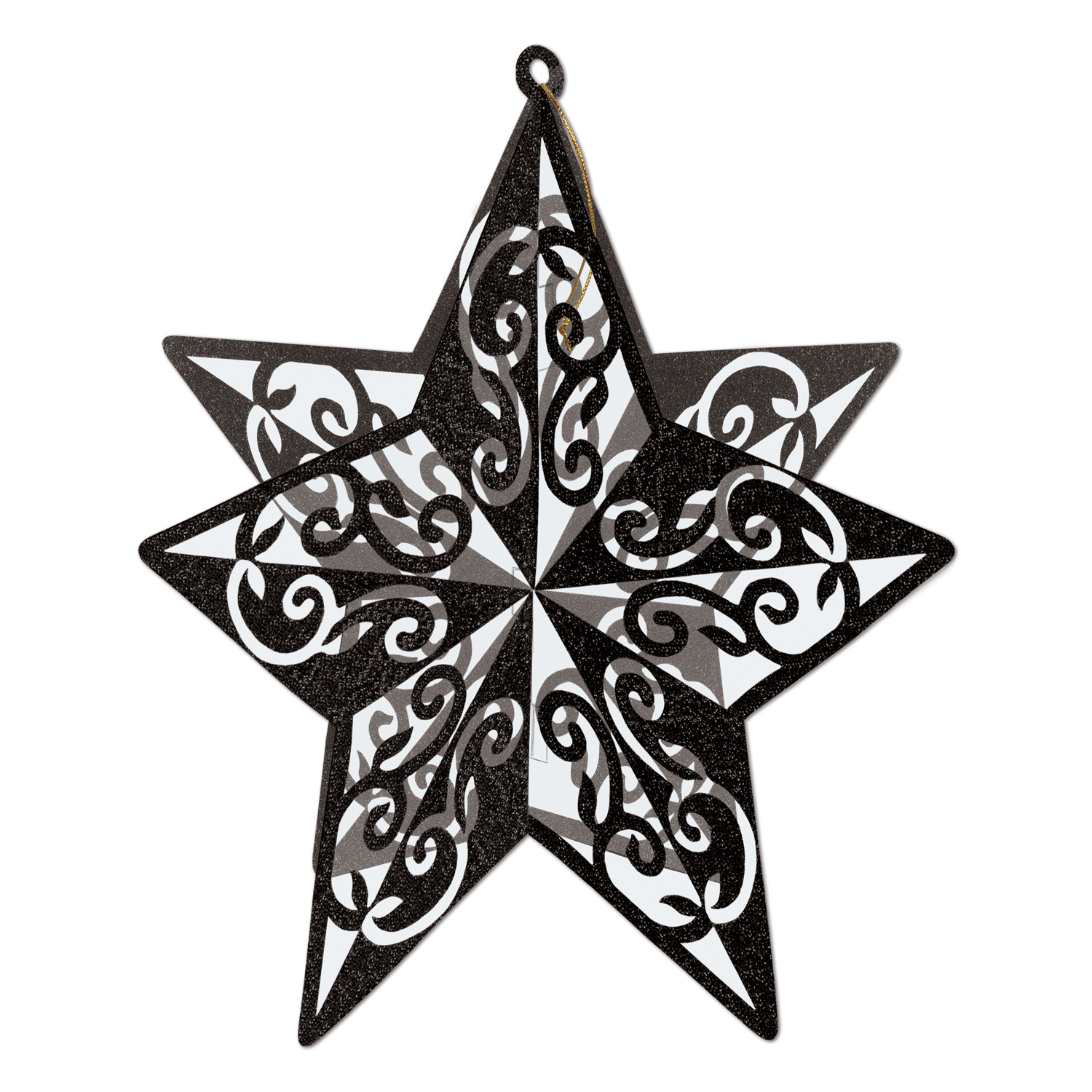 3-D Glittered Star Centerpiece 12in black