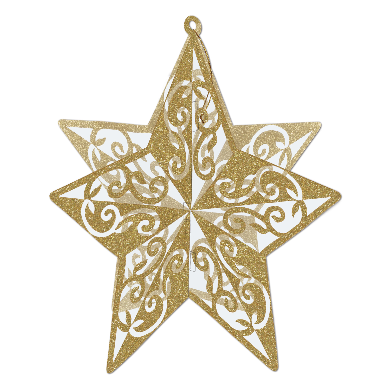 3-D Glittered Star Centerpiece 12in gold