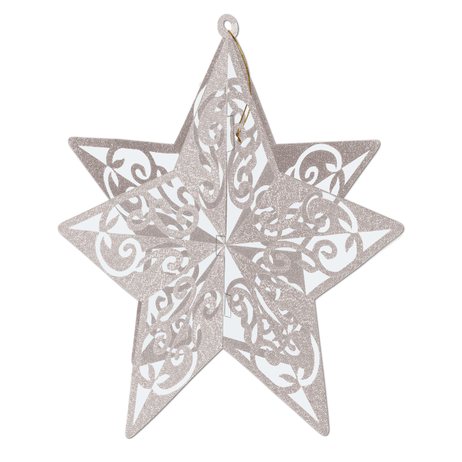 3-D Glittered Star Centerpiece 12in silver