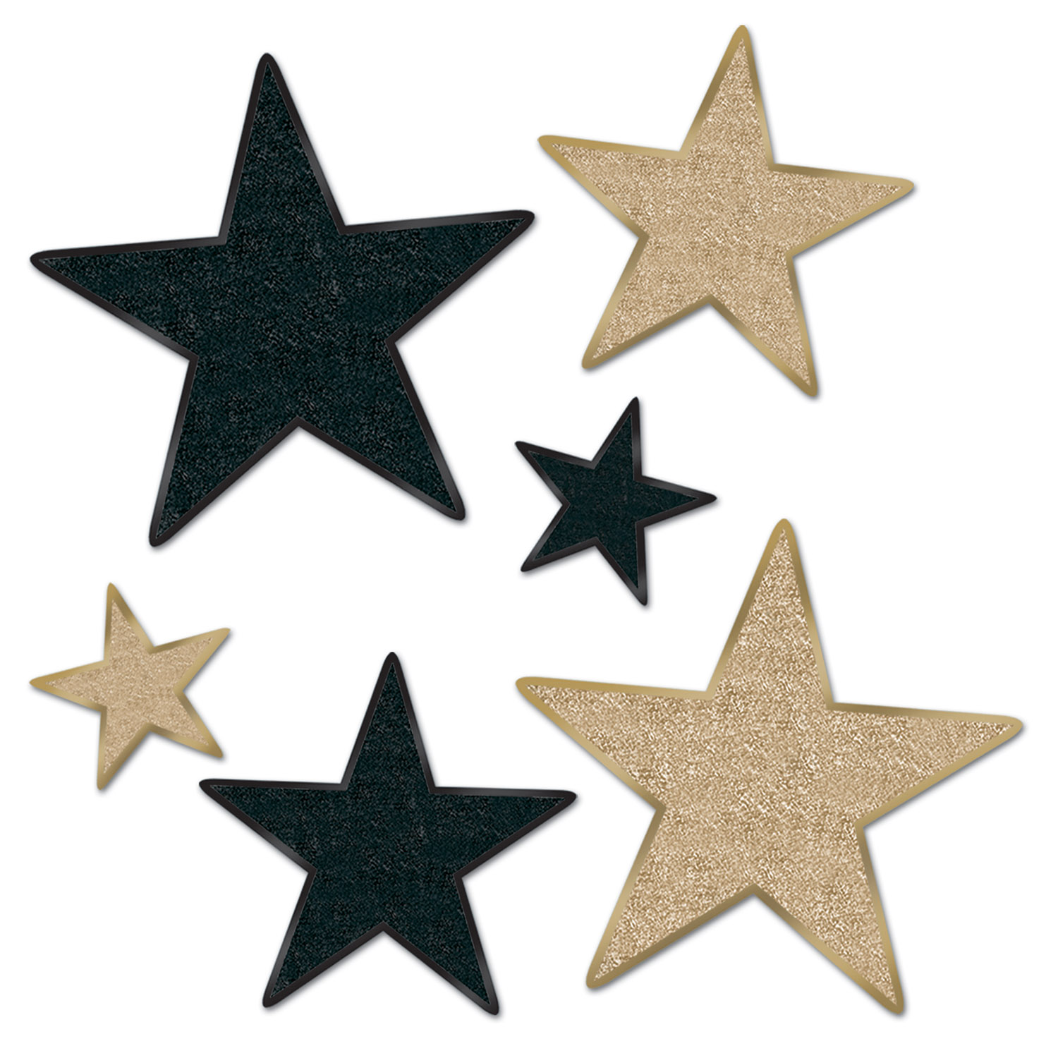 Glittered Star Cutouts Asstd asstd black & gold