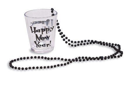 Black & Silver Bead Necklace with Shot Glass