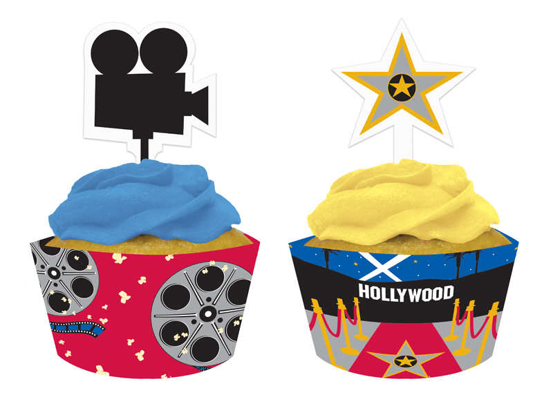 Reel Hollywood Cupcake Wrappers with Picks- 12ct