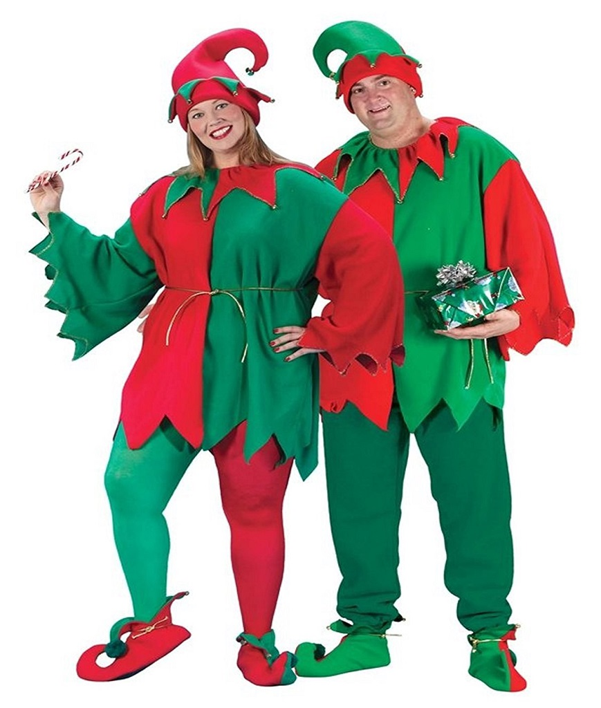 Fun World Costumes Men's Adult Promotional Elf Set. Hat Tunic Shoes RedGreen One Size