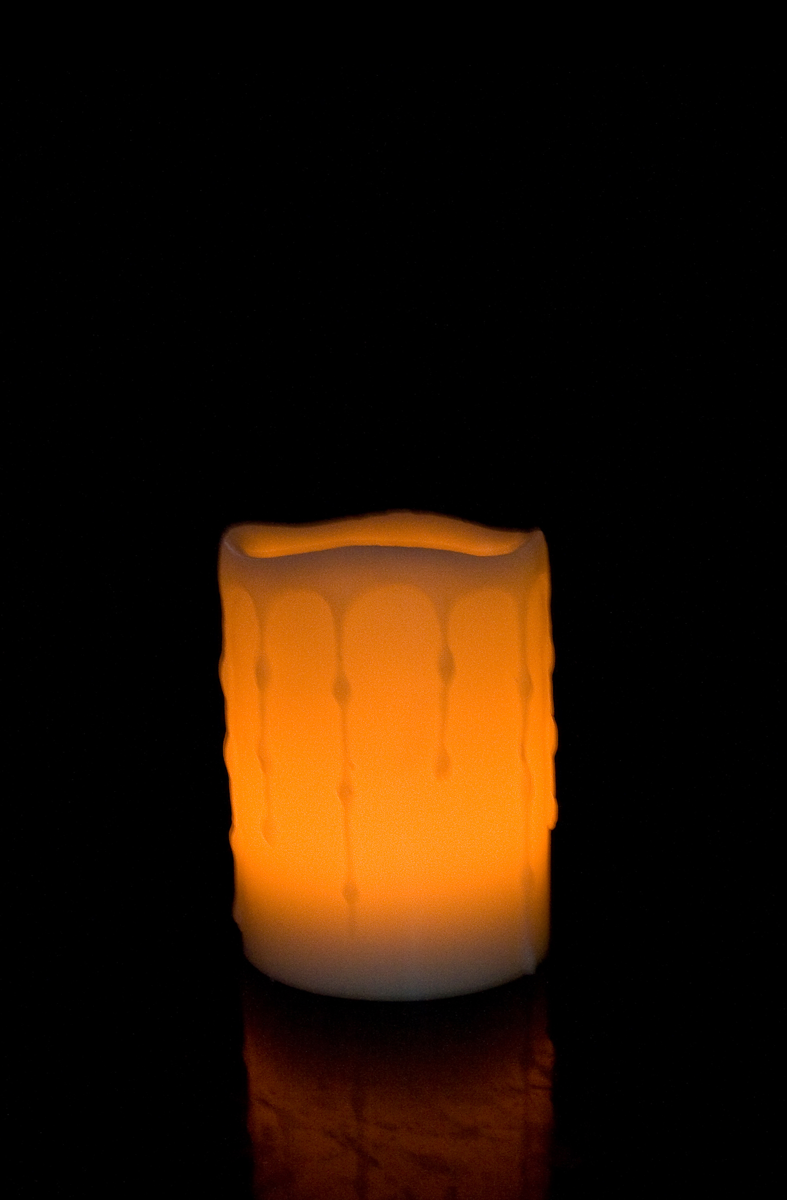 4 Inch Flameless Blow On-Off Pillar Candle - Melted Edge - Yellow