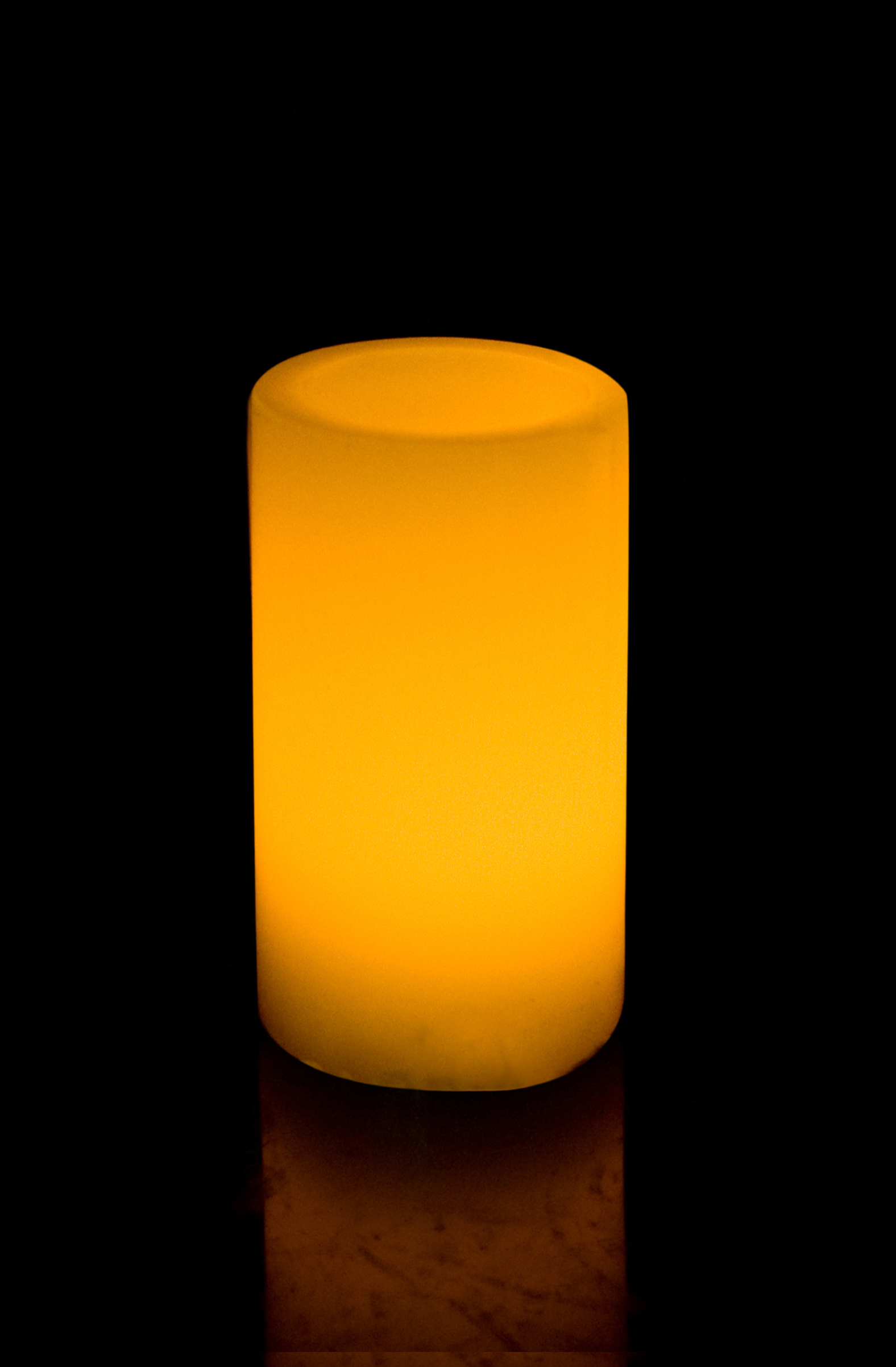 6 Inch Flameless Blow On-Off Pillar Candle - Even Edge - Yellow