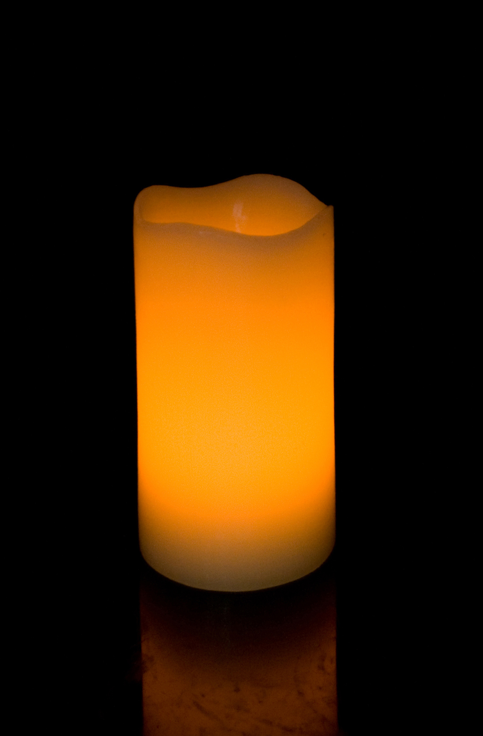 6 Inch Flameless Blow On-Off Pillar Candle - Curved Edge - Yellow