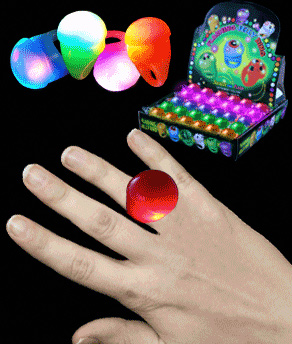 Fun Central A97 LED Light Up Jelly Round Rings - Assorted