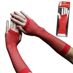RED FISHNET GLOVES