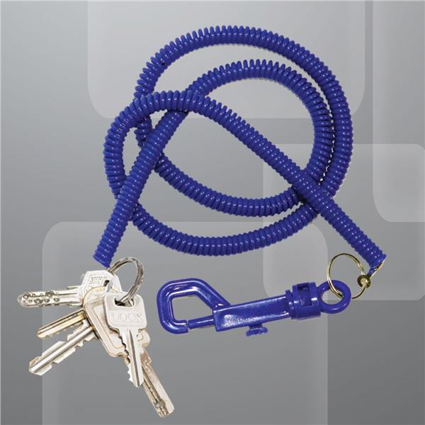BLUE PLASTIC 23 INCH COIL KEYCHAIN WITH CLIP 12 PACK
