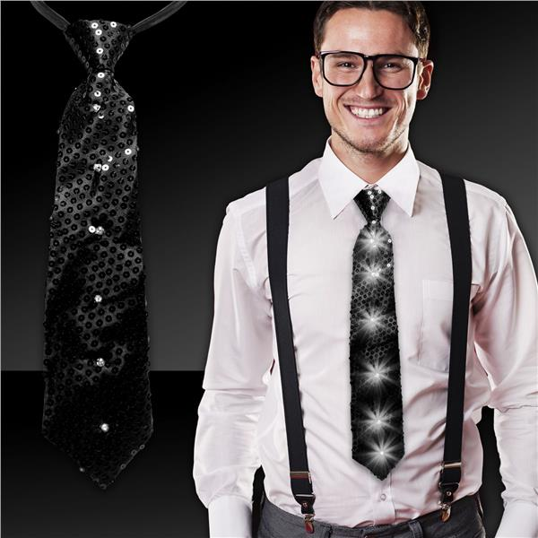 BLACK SEQUIN LED LIGHT-UP NECKTIE