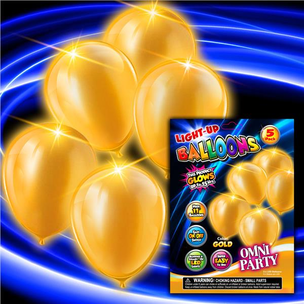 GOLD 5PK-11 INCH LED BALLOONS
