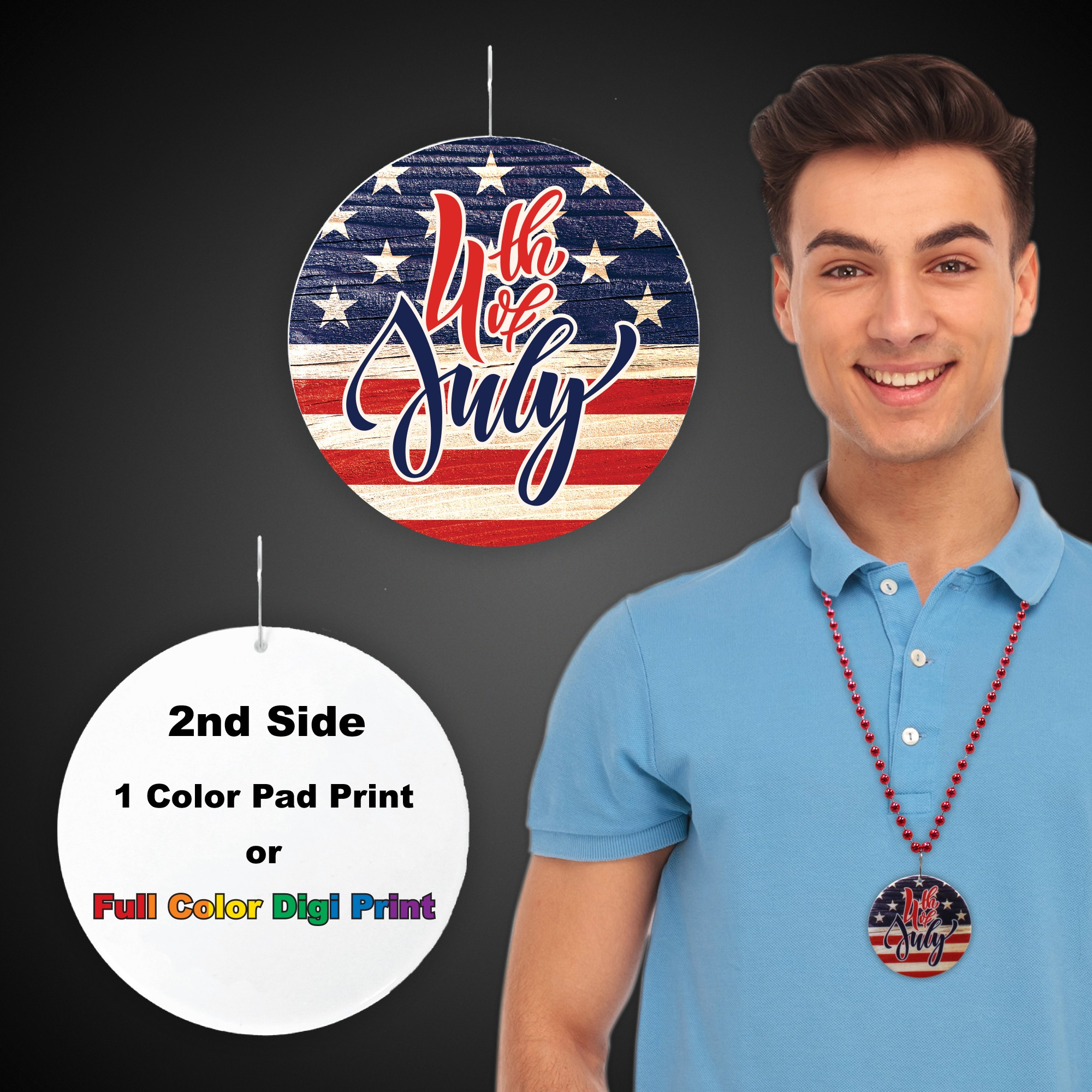 2.5 INCH WHITE 4TH OF JULY PRINT