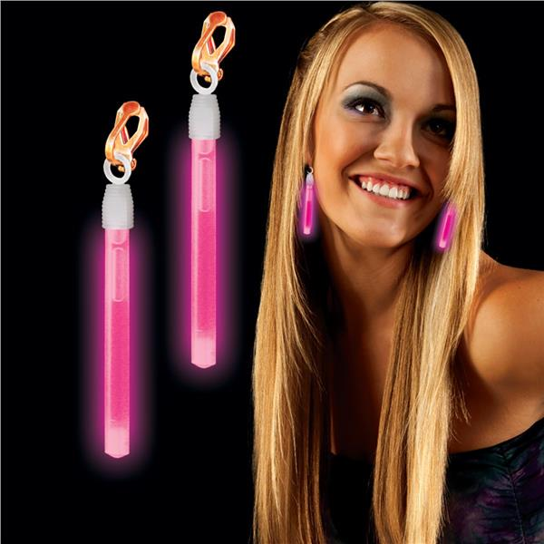 CLIP ON GLOW EARRINGS - PINK