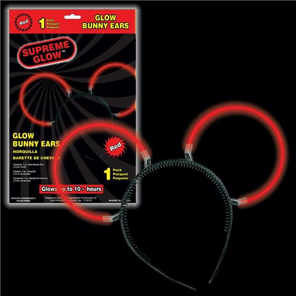GLOW BUNNY EARS RED
