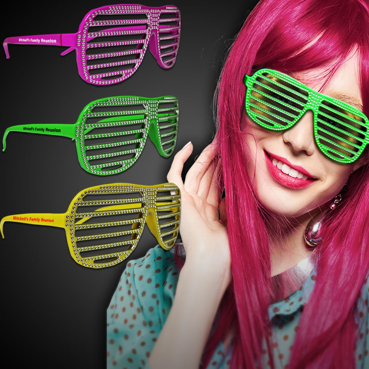 NEON- SPARKLE SLOTTED GLASSES