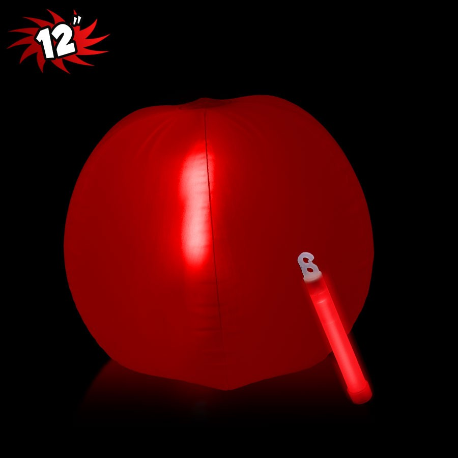 12 INCH INFLATABLE BEACH BALLS WITH RED GLOW STICKS