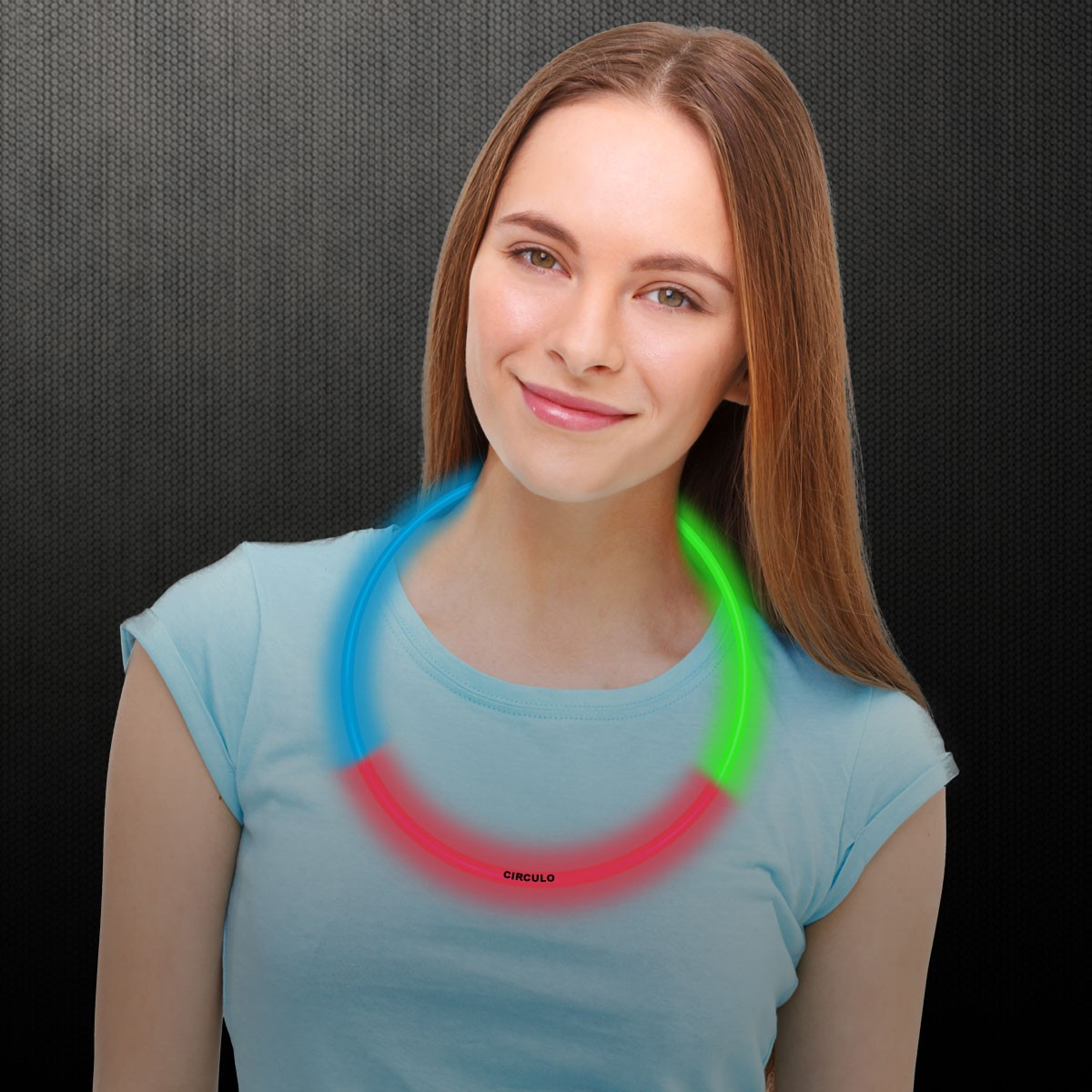 22 INCH Green Red & Blue Tri Color Glow Necklaces