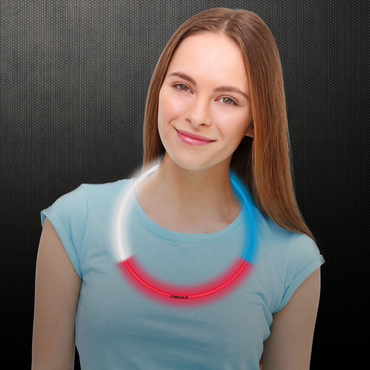 22 INCH REDWHTBLUE GLOW NECKLACE