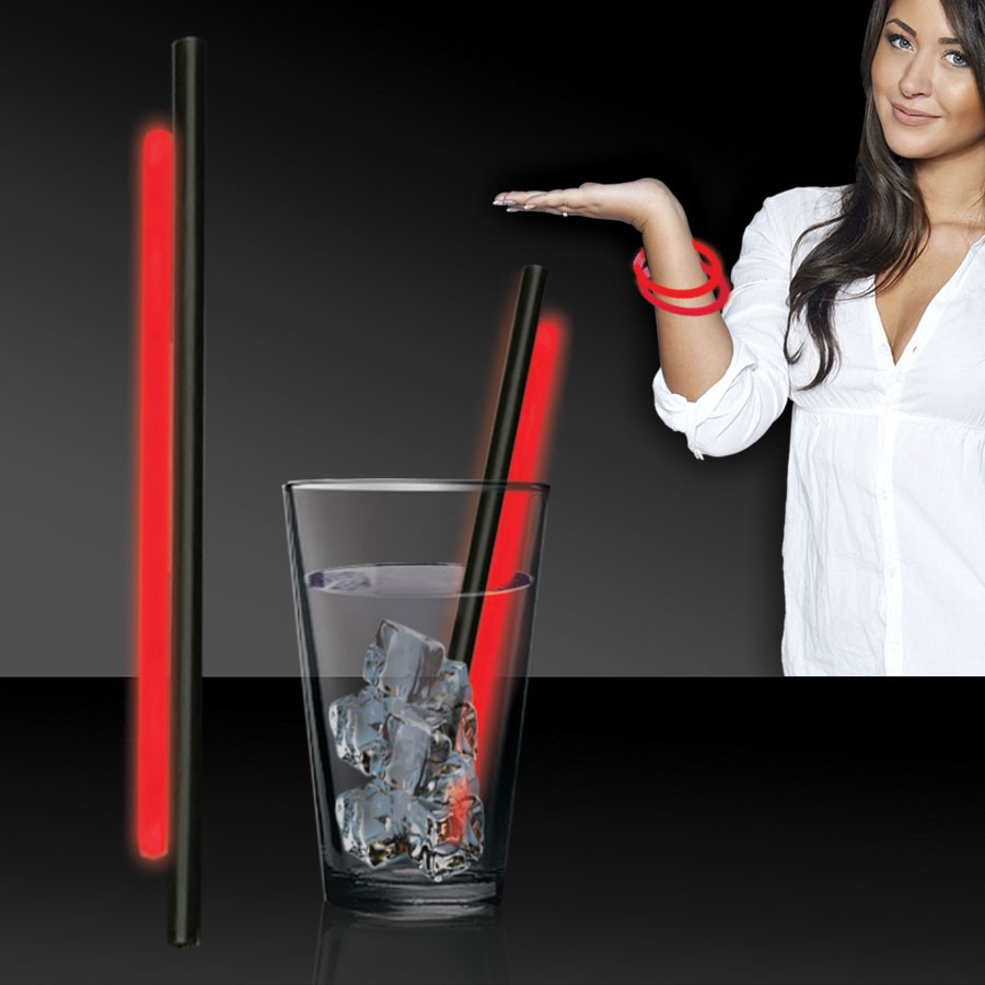 RED GLOW STRAWS AND BRACELETS - 9 INCH - 25 PACK